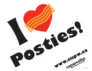 "reads "" i heart posties!"""