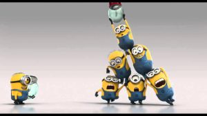 minion cartoon characters form a pyramid to change a lightbulb