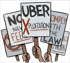 Anti-uber protest signs in cartoon form.
